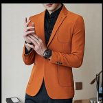 Marke elegante Männer Blazer 2019 Orange Schwarz Mans Casual Blazer Slim Fit Masculino Single Button Herren Vintage Blazer Jacke