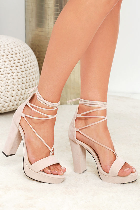 Talons Sexy Nude - Talons Plateforme - Talons Lacets - Daim Vegan.