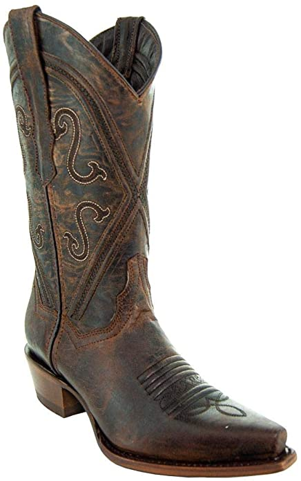 Amazon.com |  Bottes Soto Femme Cheyenne Leather Snipped Toe Cowgirl.