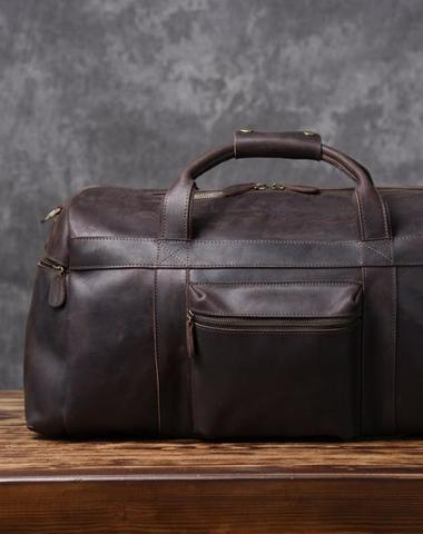 Cool Leather Mens Weekender Bag Travel Bag Duffle Bags Holdall Bag f