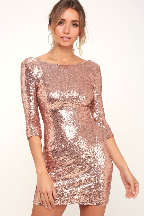 Robe à sequins or rose - Robe de cocktail - Homecoming Dre
