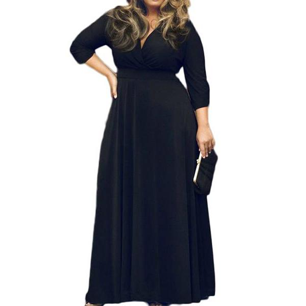 POSESHE Maxi Dre Col V Manches 3/4 Grande Taille Femme
