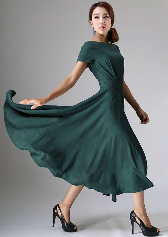 Robe longue robe en lin femme Robe verte Robe fluide # ad # dress.