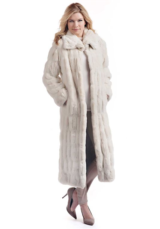 Femmes Ivory Mink Couture Full-Length Faux Fur Co