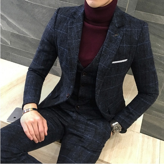 3 Pièces 2019 Costumes Hommes British New Style Designs Royal Blue Mens.