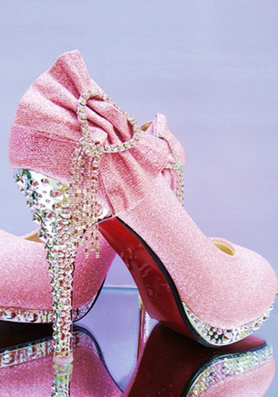 Rose Bout rond Stiletto Strass Bow Fashion Chaussures à talons hauts.