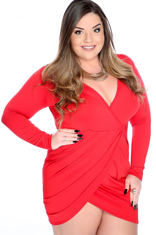 Sexy Red V-Neck manches longues Tulip Plus Size Club Dre