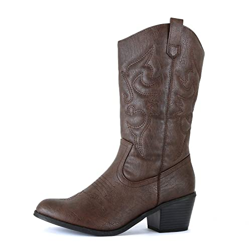Bottes de cow-girl marron: Amazon.c