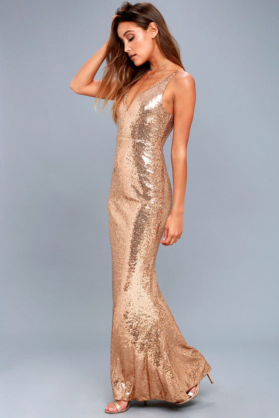 Lovely Gold Sequin Dress - Robe longue à sequins - Mermaid Ma
